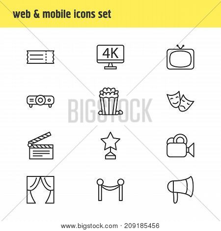 Editable Pack Of Resolution, Theater, Reward And Other Elements.  Vector Illustration Of 12 Film Icons.