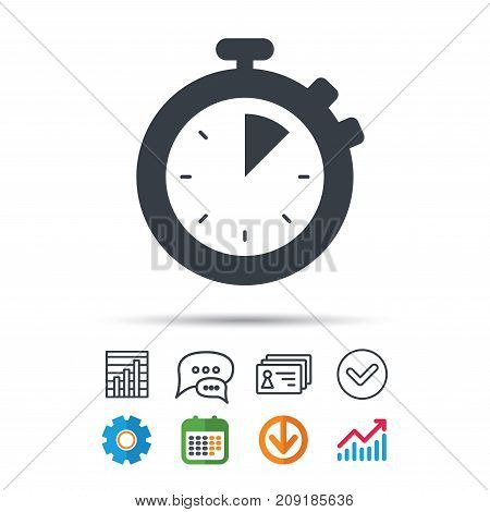 Stopwatch icon. Timer or clock device symbol. Statistics chart, chat speech bubble and contacts signs. Check web icon. Vector
