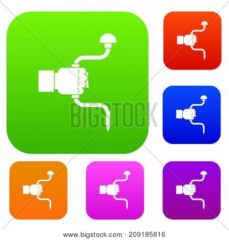 Vintage hand drill in man hand set icon color in flat style isolated on white. Collection sings vector illustration