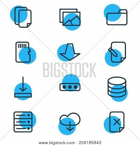 Editable Pack Of Dossier, Database, Remove And Other Elements.  Vector Illustration Of 12 Memory Icons.