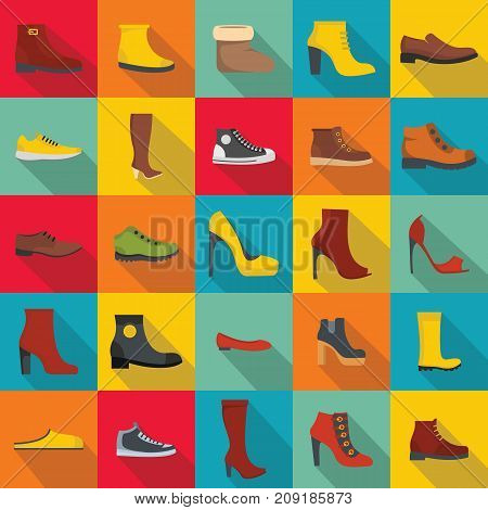 Footwear shoes icon set. Flat illustration of 25 footwear shoes vector icons for web
