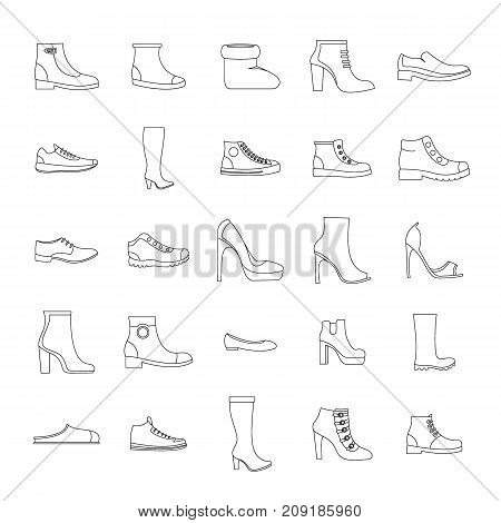 Footwear shoes icon set. Outline illustration of 25 footwear shoes vector icons for web