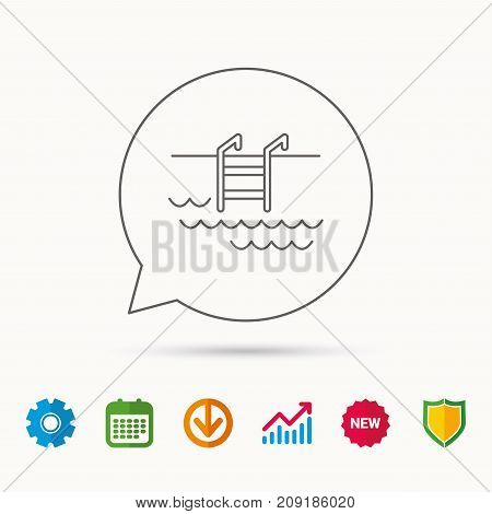 Swimming pool icon. Waves and stairs sign. Calendar, Graph chart and Cogwheel signs. Download and Shield web icons. Vector