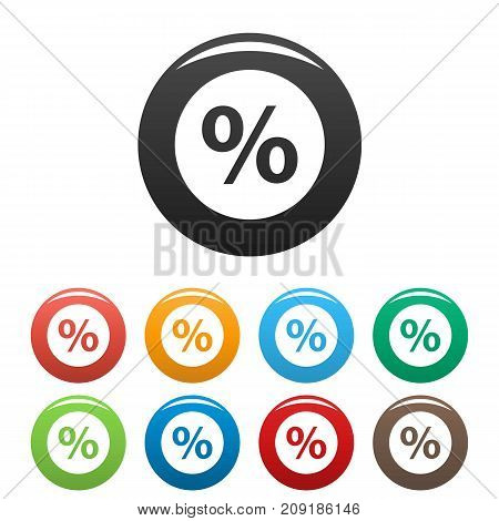 Percent sign vector icons set. Vector simple set of percent vector icons in different colors isolated on white