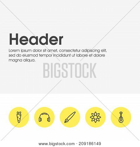 Editable Pack Of Nib, Veggie, Petal And Other Elements.  Vector Illustration Of 5 Leisure Icons.