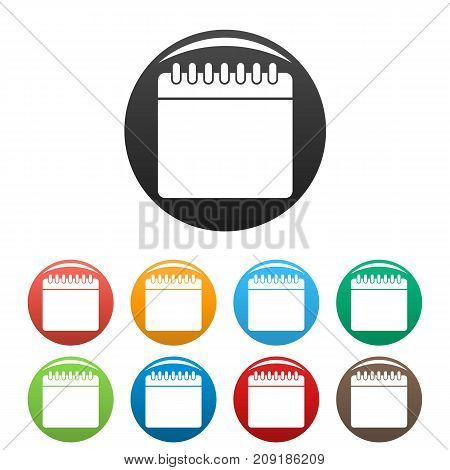 Calendar icons set. Vector simple set of calendar vector icons in different colors isolated on white