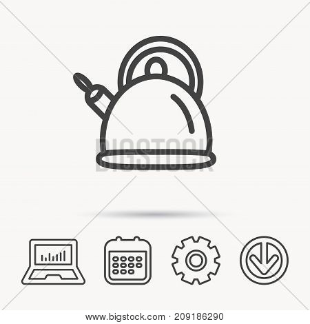 Teapot icon. Kitchen kettle sign. Hot drink appliance tool. Notebook, Calendar and Cogwheel signs. Download arrow web icon. Vector