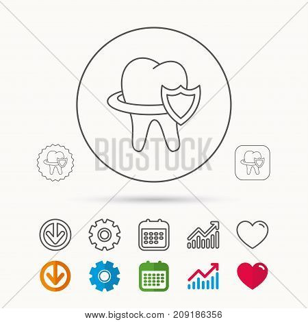 Tooth protection icon. Dental shield sign. Calendar, Graph chart and Cogwheel signs. Download and Heart love linear web icons. Vector