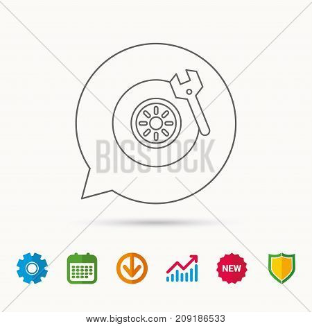 Tire service icon. Wheel and wrench key sign. Calendar, Graph chart and Cogwheel signs. Download and Shield web icons. Vector