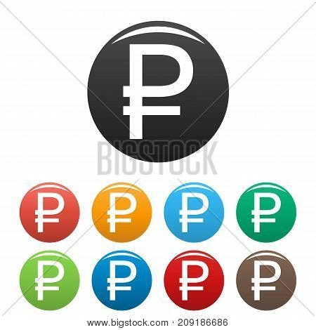 Ruble symbol icons set. Vector simple set of Ruble symbol vector icons in different colors isolated on white