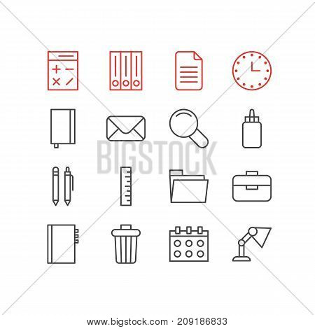 Editable Pack Of Meter, Garbage Container, Adhesive And Other Elements.  Vector Illustration Of 16 Tools Icons.