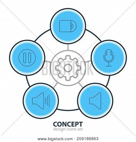 Editable Pack Of Speaker, Mike, Compact Disk And Other Elements.  Vector Illustration Of 5 Melody Icons.