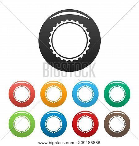 Beer cap icons set. Vector simple set of beer cap vector icons in different colors isolated on white