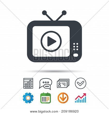 TV icon. Retro television symbol. Statistics chart, chat speech bubble and contacts signs. Check web icon. Vector