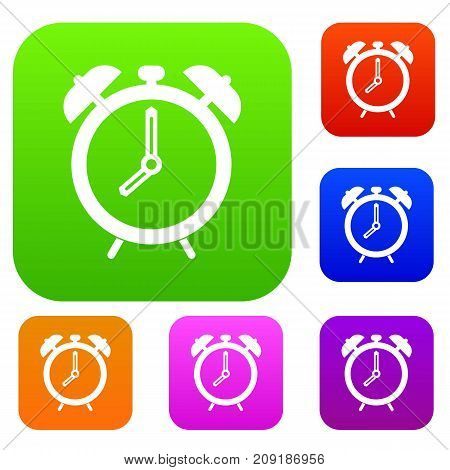 Alarm clock set icon color in flat style isolated on white. Collection sings vector illustration