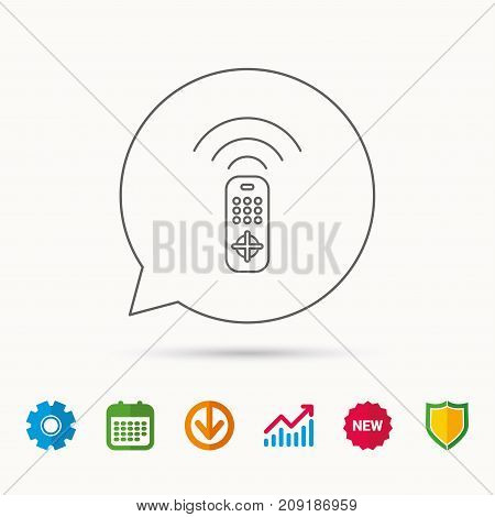 Remote control icon. TV switching channels sign. Calendar, Graph chart and Cogwheel signs. Download and Shield web icons. Vector