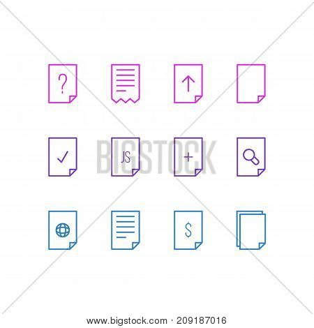 Editable Pack Of Question, Dollar, File And Other Elements.  Vector Illustration Of 12 Page Icons.