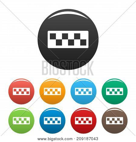 Taxi cab icons set. Vector simple set of taxi cab vector icons in different colors isolated on white