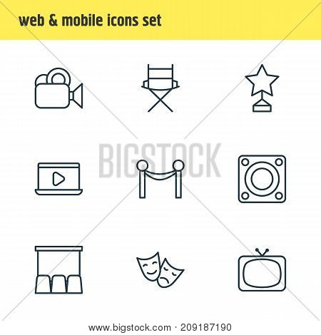 Editable Pack Of Camera, Reward, Hall And Other Elements.  Vector Illustration Of 9 Cinema Icons.