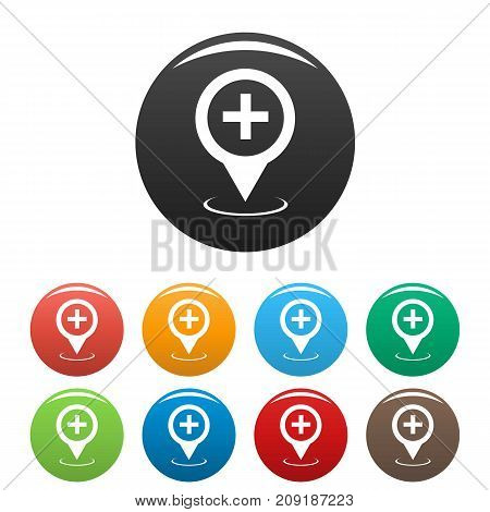 Hospital map pointer icons set. Vector simple set of hospital map pointer vector icons in different colors isolated on white