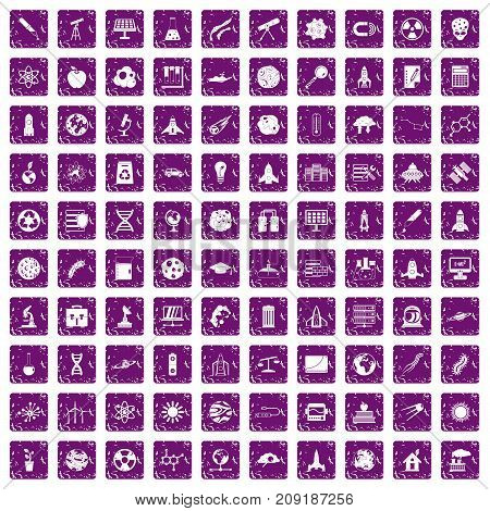 100 space icons set in grunge style purple color isolated on white background vector illustration