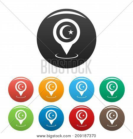 Mosque map pointer icons set. Vector simple set of mosque map pointer vector icons in different colors isolated on white