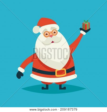 Happy cartoon funny santa claus holding a gift on a blue background