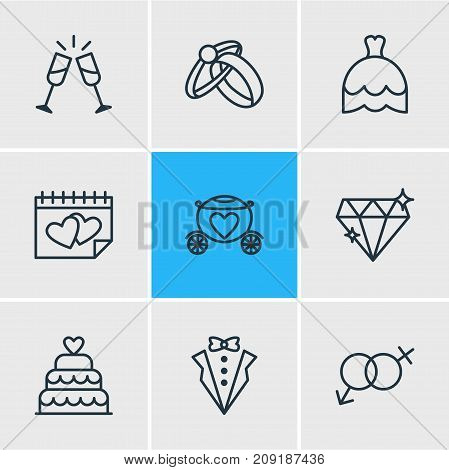 Editable Pack Of Bridegroom Dress, Sexuality Symbol, Brilliant And Other Elements.  Vector Illustration Of 9 Marriage Icons.