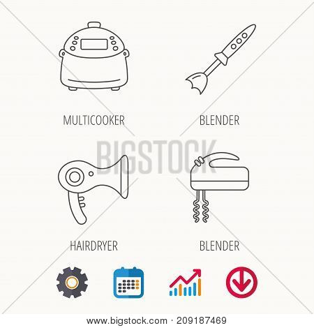 Multicooker, hair-dryer and blender icons. Mixer linear sign. Calendar, Graph chart and Cogwheel signs. Download colored web icon. Vector
