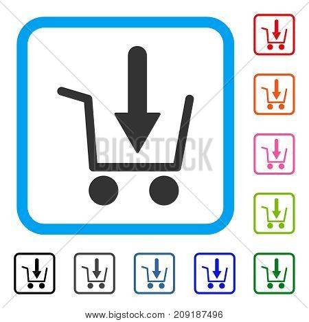 Add To Basket icon. Flat grey iconic symbol in a light blue rounded rectangle. Black, gray, green, blue, red, orange color versions of Add To Basket vector.