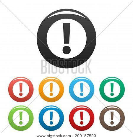 Exclamation point icons set. Vector simple set of exclamation point vector icons in different colors isolated on white