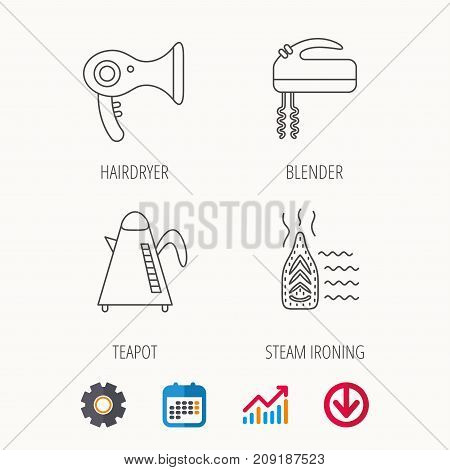 Steam ironing, kettle and blender icons. Hairdryer linear sign. Calendar, Graph chart and Cogwheel signs. Download colored web icon. Vector