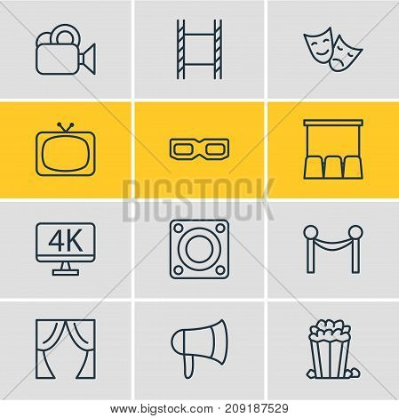 Editable Pack Of Hall, Theater, Snack And Other Elements.  Vector Illustration Of 12 Film Icons.