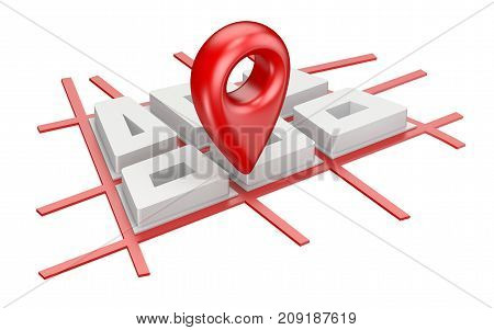 Red map pointer on city plane navigation concept 3D render illustration isolated on white background