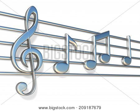 Music notes on staff lines 3D render illustration isolated on white background