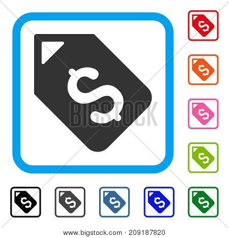 Bank Account Tag icon. Flat gray pictogram symbol inside a light blue rounded rectangular frame. Black, gray, green, blue, red, orange color versions of Bank Account Tag vector.