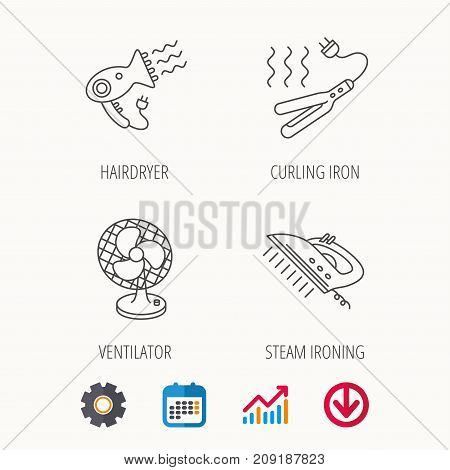 Steam ironing, curling iron and hairdryer icons. Ventilator linear sign. Calendar, Graph chart and Cogwheel signs. Download colored web icon. Vector