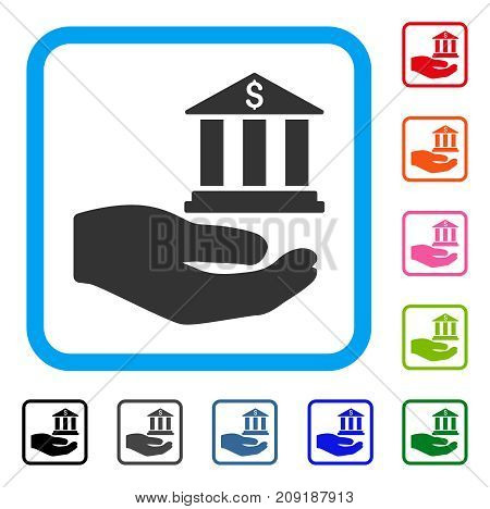 Bank Service Hand icon. Flat gray iconic symbol inside a light blue rounded frame. Black, gray, green, blue, red, orange color variants of Bank Service Hand vector. Designed for web and software UI.