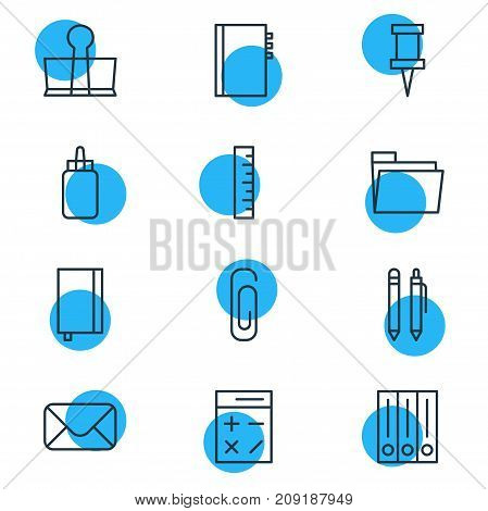 Editable Pack Of Archive, Meter, Binder Clip And Other Elements.  Vector Illustration Of 12 Tools Icons.