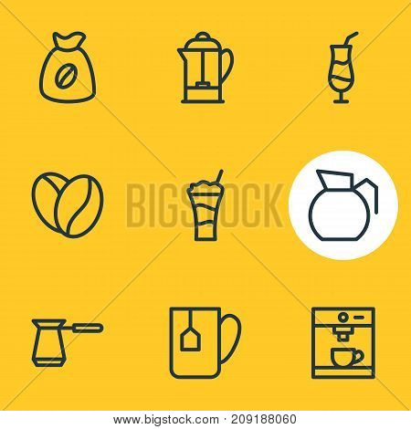 Editable Pack Of Drink Pot, Turkish, Seed And Other Elements.  Vector Illustration Of 9 Drink Icons.