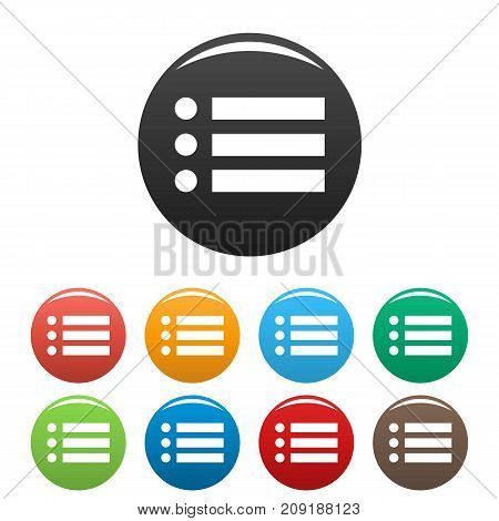 List icons set. Vector simple set of list vector icons in different colors isolated on white
