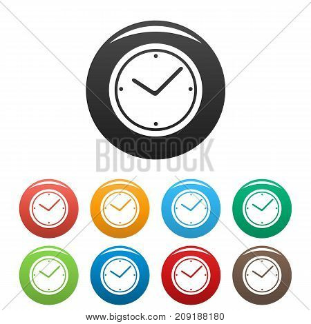Clock icons set. Vector simple set of clock vector icons in different colors isolated on white