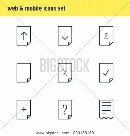 Editable Pack Of Folder, Script, Done And Other Elements.  Vector Illustration Of 9 Page Icons.