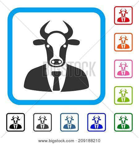 Bull Boss icon. Flat grey iconic symbol in a light blue rounded rectangle. Black, gray, green, blue, red, orange color additional versions of Bull Boss vector. Designed for web and app UI.