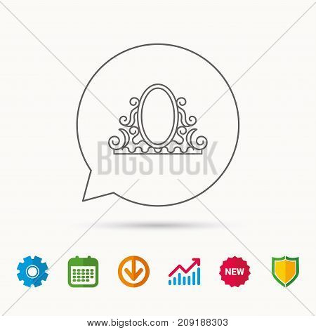 Vintage mirror icon. Retro decoration sign. Calendar, Graph chart and Cogwheel signs. Download and Shield web icons. Vector