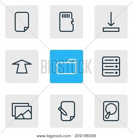Editable Pack Of Memory, Dossier, File And Other Elements.  Vector Illustration Of 9 Archive Icons.