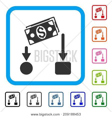 Cash Flow icon. Flat grey pictogram symbol inside a light blue rounded rectangle. Black, gray, green, blue, red, orange color versions of Cash Flow vector. Designed for web and software interfaces.