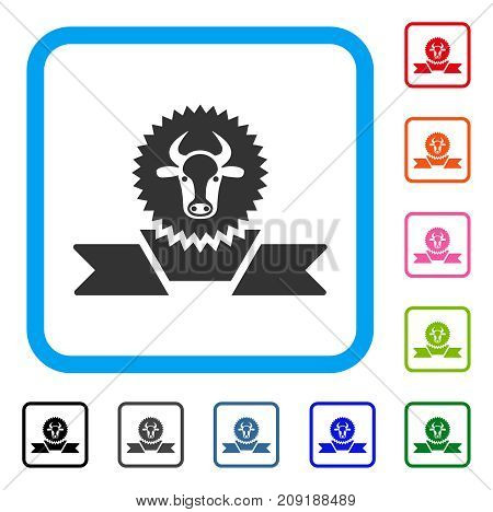 Cattle Award Ribbon icon. Flat gray pictogram symbol inside a light blue rounded square. Black, gray, green, blue, red, orange color variants of Cattle Award Ribbon vector.