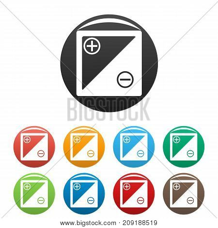 Accumulator icons set. Vector simple set of accumulator vector icons in different colors isolated on white