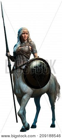 Centaur woman with lance and shield 3D illustration